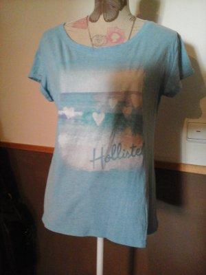 schönes Tshirt Hollister hellblau mit Motiv Gr. M