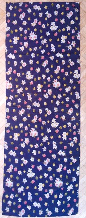Schönes Tuch, dunkelblau mit Blumenmuster