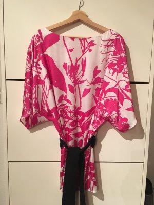 Schönes Tunikakleid weis/rosa mit Gürtel