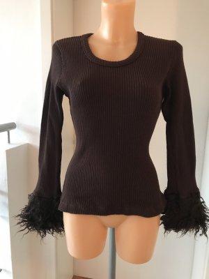 Schönes Vintage Rippshirt mit Fellbesatz * dunkelbraun * überlange Ärmel