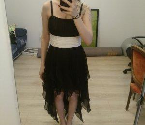 Jurk met langere achterkant wit-zwart