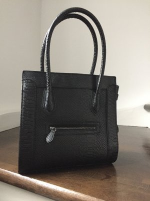 Schönes Weihnachtsgeschenk-Krokoprägung Handtasche schwarz NEU!