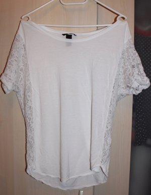 Schönes weißes Shirt mit Spitze Gr. S von H&M