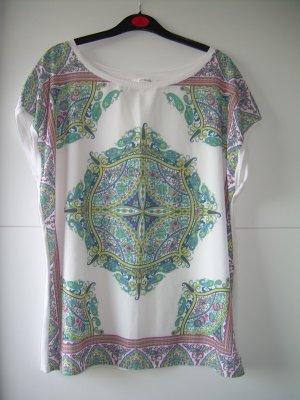 schönes weißes T-Shirt von Promod Gr. XL 42-44 mit buntem Muster