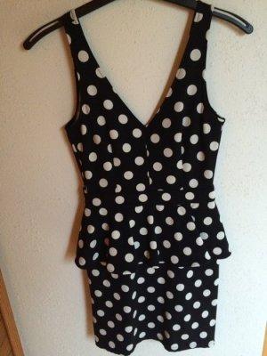 Schößchen Kleid dunkelblau/ marineblau Weiße Punkte