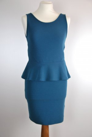 H&M Peplum jurk staalblauw Katoen