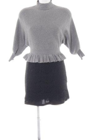 Peplum jurk grijs-zwart elegant