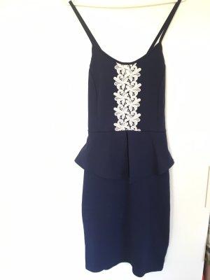 Vestido peplum azul oscuro-blanco