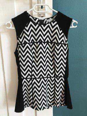 Schößchentop schwarz weiß von H&M, Größe 36