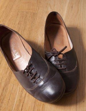 "Schokobraune Ballerinas / Loafers aus Leder in 37 ""Made in Italy"""