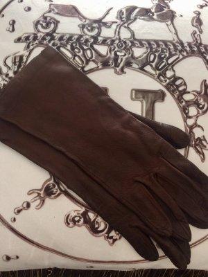 Gants en cuir brun foncé-brun