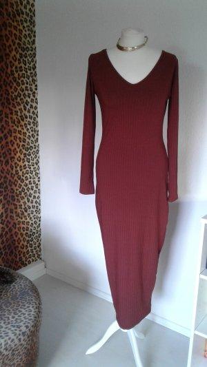 Schokobraunes Midaxi Kleid mit V Auschnitt
