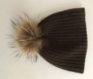 Sombrero de piel marrón oscuro-marrón Cachemir