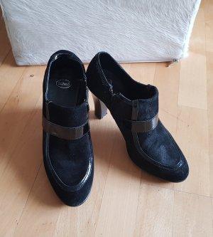 Scholl Platform Booties black leather