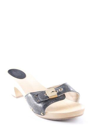 Scholl Clog Sandalen beige-schwarz Glanz-Optik