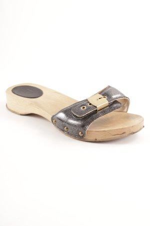 Scholl Clog Sandalen schwarz-silberfarben Glitzer-Optik