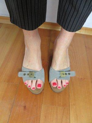 Scholl Heel Pantolettes grey-light brown leather