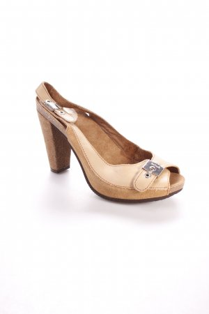 Scholl Platform High-Heeled Sandal camel-silver-colored Logo application (metal)