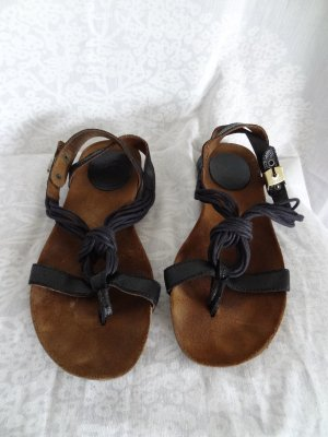 Scholl Sandalo toe-post marrone scuro Pelle
