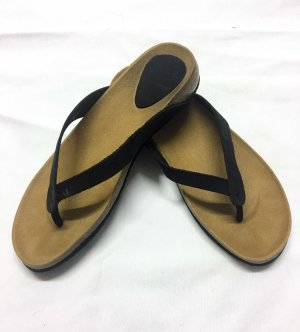Scholl Toe-Post sandals black-sand brown leather