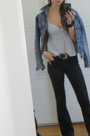 Zara Basic Mouwloze blouse korenblauw-wit