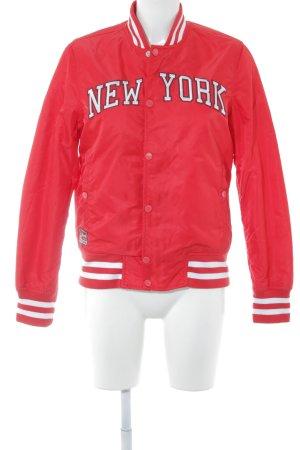 Schott NYC Blouson aviateur rouge-blanc lettrage brodé style universitaire