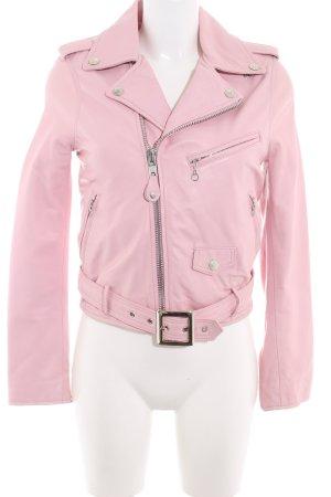 Schott NYC Lederjacke rosé Biker-Look
