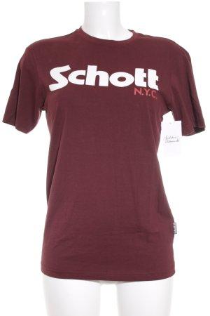 Schott T-Shirt braunrot-weiß Schriftzug gedruckt Urban-Look