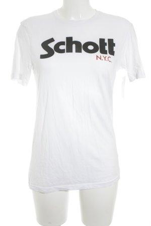 Schott T-Shirt weiß-schwarz Schriftzug gedruckt Casual-Look