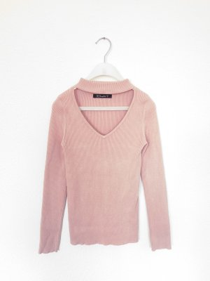 Simplee V-Neck Sweater pink