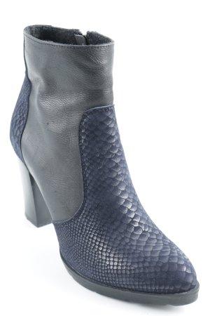 Schucco Keil-Stiefeletten dunkelblau-schwarz Fischgrätmuster Elegant