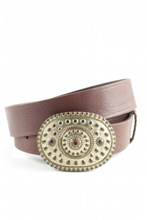 Schuchard & Friese Leather Belt brown-gold-colored wet-look