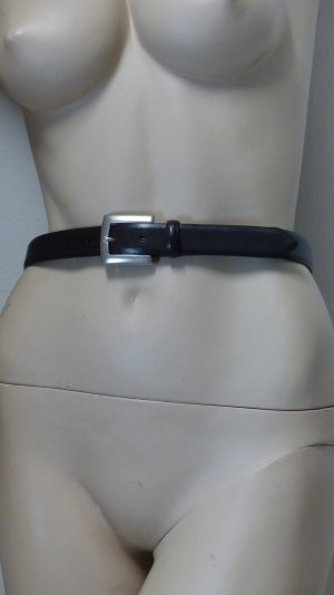Leather Belt dark brown-silver-colored leather