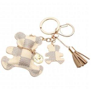 Porte-clés beige clair-noir