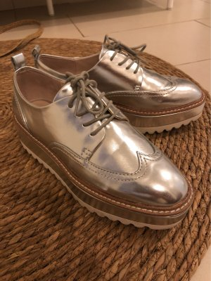 Zara Wingtip Shoes silver-colored-light grey