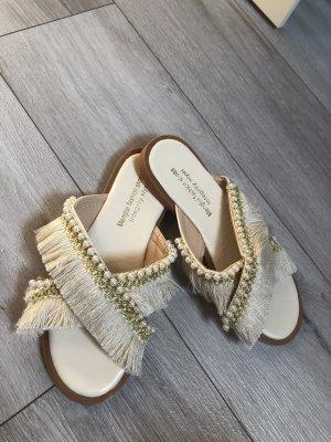 Sandale d'extérieur crème-doré