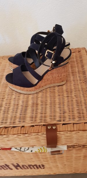 Plateauzool Sandalen met Hoge Hakken goud-donkerblauw