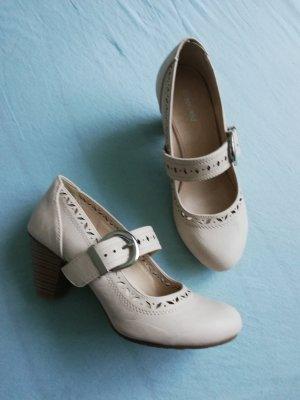 Graceland Escarpins Mary Jane beige clair tissu mixte