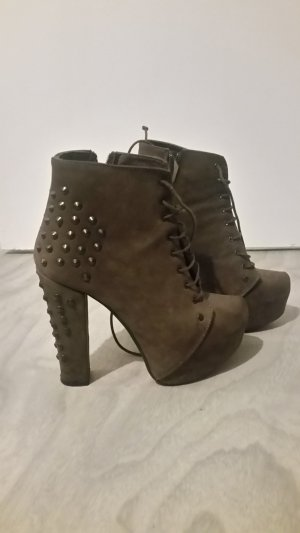 0039 Italy Platform Booties light brown leather