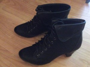 Lace-up Booties black synthetic material