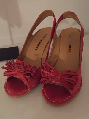Ottoedieci Wedge Sandals brick red leather