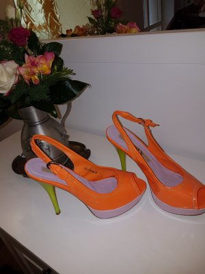 Jumex High Heel Sandal orange-lime-green