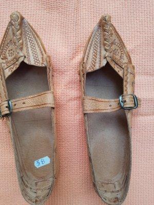 Zapatillas para casa marrón claro Cuero