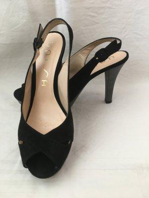 Schuhe aus Wildleder mit ca. 1 cm Plateau