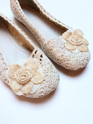 Schuhe | Ballerina | Spitze | beige | creme | Blüte
