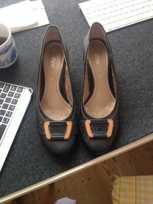 Schuhe, blau - holz, klassisch