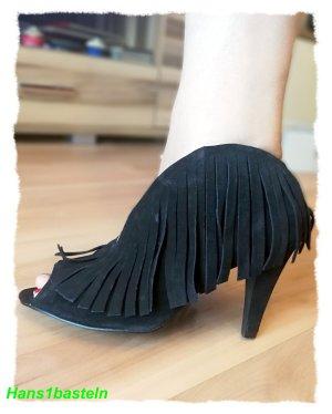 Schuhe Boots Fransen Pieces by Vero Moda Wildleder neu Peeptoe Stiefel Gr.40, NP 79,99Neu