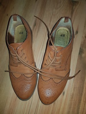 H&M Wingtip Shoes cognac-coloured