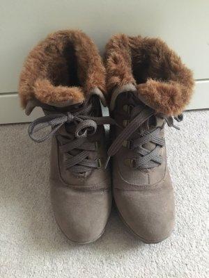 Schuhe Buffallo Braun Fell Stiefeletten 36 Keilabsatz
