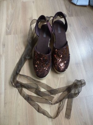 Schuhe BUFFALO Sandalen Espadrilles zum Schnüren Pailletten braun